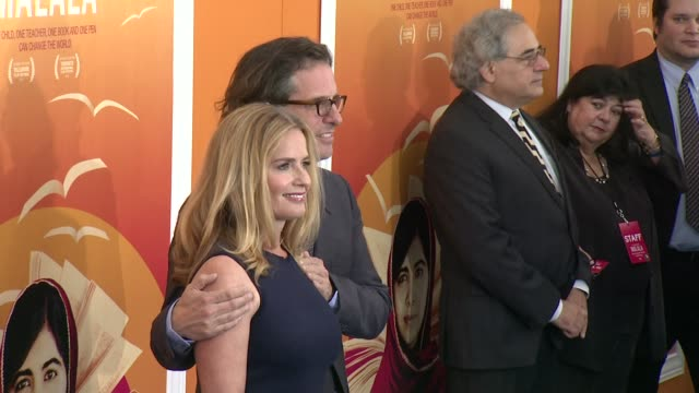"elisabeth shue and davis guggenheim at ""he named me malala"" new york premiere at ziegfeld theatre on september 24, 2015 in new york city. - elisabeth shue stock videos & royalty-free footage"