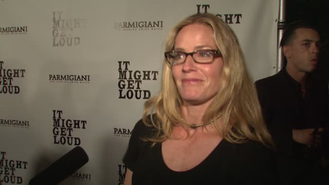 elisabeth shue on her favorite scene in the film, the message of the film at the 'it might get loud' premiere party at los angeles ca. - elisabeth shue stock videos & royalty-free footage
