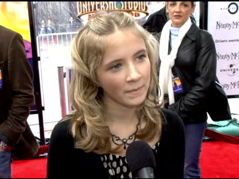 eliza bennett on tora her character on nanny mcphee and emma thompson at the 'nanny mcphee' us premiere at universal studios cinemas in universal... - emma thompson stock videos and b-roll footage