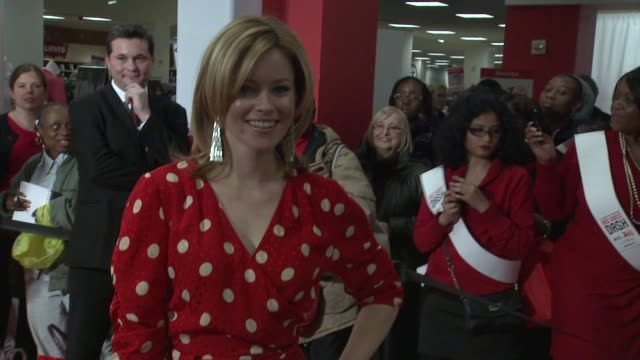 elizabeth banks at aha's go red for women national wear red day at macy's at macy's herald square on 02/03/12 in new york - macy's herald square stock videos and b-roll footage