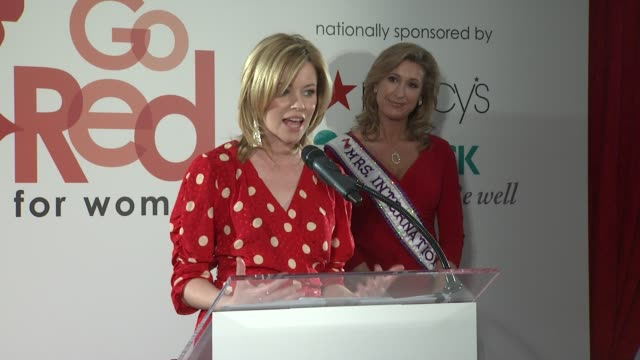 elizabeth banks introduces go red and talks about her personal experiences with heart disease at aha's go red for women national wear red day at... - macy's herald square stock videos and b-roll footage