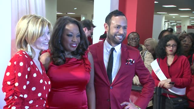 elizabeth banks, star jones and nick verreos at aha's go red for women national wear red day at macy's at macy's herald square on 02/03/12 in new york - star jones stock videos & royalty-free footage