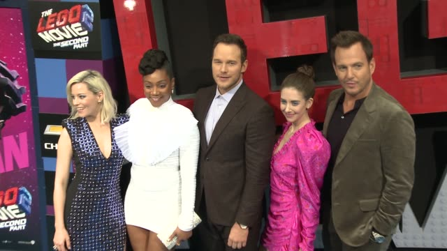 elizabeth banks tiffany haddish chris pratt alison brie and will arnett at the the lego movie 2 the second part world premiere at regency village... - will arnett stock videos and b-roll footage