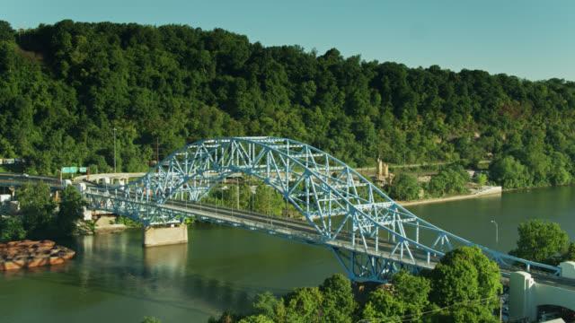 elizabeth bridge over the monongahela river - aerial - pennsylvania stock videos & royalty-free footage