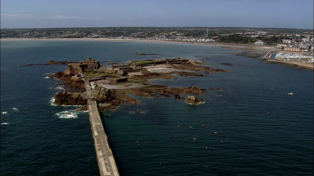 Elizabeth Castle  - Aerial View - helicopter filming,  aerial video,  cineflex,  establishing shot,  Jersey