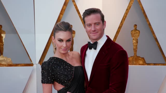 elizabeth chambers and armie hammer at 90th academy awards arrivals at dolby theatre on march 04 2018 in hollywood california - armie hammer stock videos & royalty-free footage