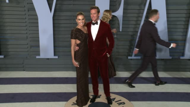 elizabeth chambers armie hammer at 2018 vanity fair oscar party on march 04 2018 in beverly hills california - armie hammer stock videos & royalty-free footage