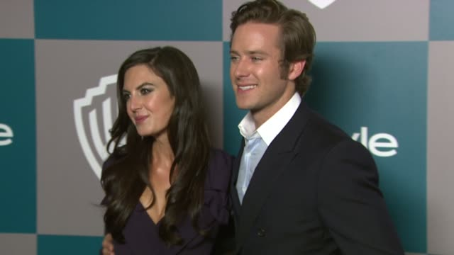 elizabeth chambers armie hammer at the 13th annual warner bros and instyle golden globe afterparty at the beverly hilton hotel on 1/15/12 in los... - armie hammer stock videos & royalty-free footage