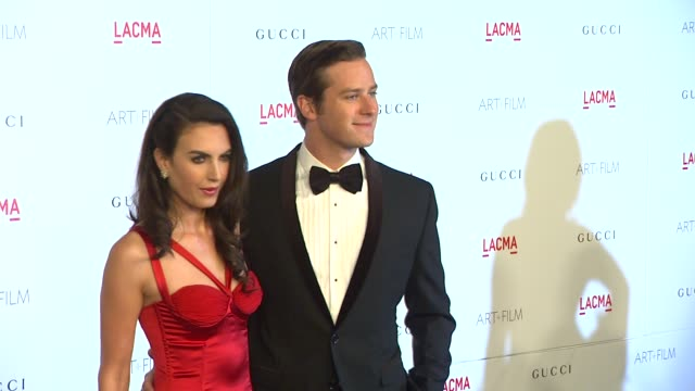elizabeth chambers armie hammer at the lacma hosts inaugural art film gala honoring clint eastwood and john baldessari presented by gucci at los... - armie hammer stock videos & royalty-free footage