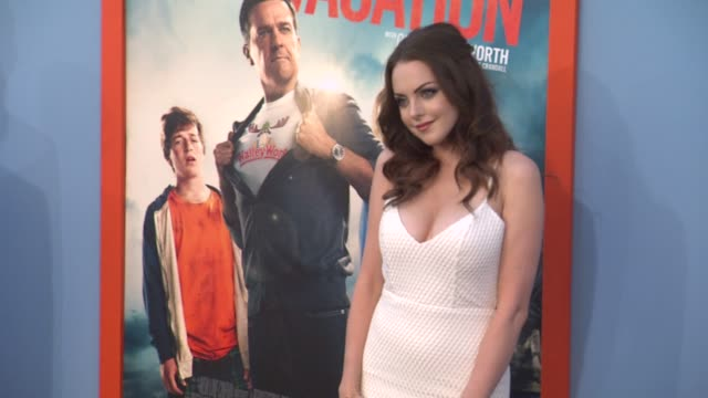 elizabeth gillies at the vacation los angeles premiere at regency village theatre on july 27 2015 in westwood california - regency village theater stock videos and b-roll footage