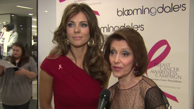 Elizabeth Hurley and Evelyn Lauder say you can save your own life with regard to breast cancer at the Bloomingdale's The Estee Lauder Companies Kick...