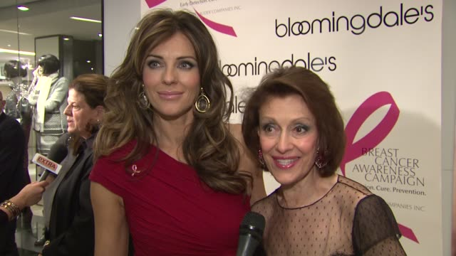 Elizabeth Hurley and Evelyn Lauder summarize the event happening at Bloomingdales at the Bloomingdale's The Estee Lauder Companies Kick Off Breast...