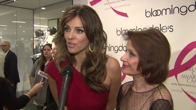 Elizabeth Hurley and Evelyn Lauder talk about the pledges they are both making to fight breast cancer at the Bloomingdale's The Estee Lauder...