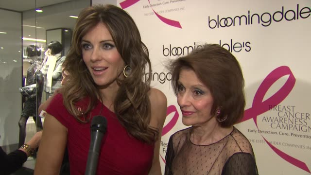 Elizabeth Hurley and Evelyn Lauder talk about the significance of the pink ribbon which Evelyn created at the Bloomingdale's The Estee Lauder...
