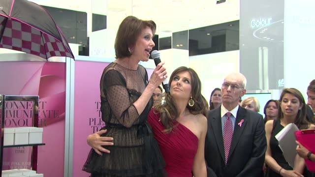 Elizabeth Hurley and Evelyn Lauder talks about the bloggers who have made a pledge to conquer breast cancer at the Bloomingdale's The Estee Lauder...