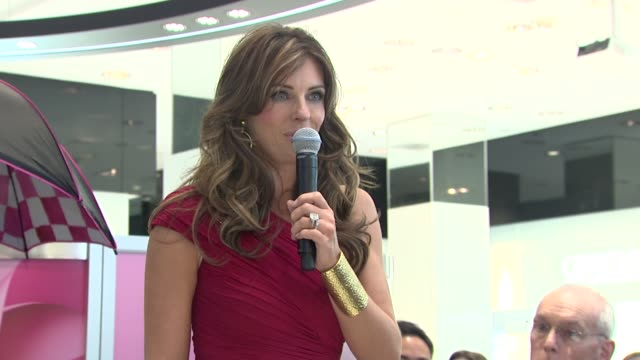 Elizabeth Hurley asks for the audience's help in blogging and tweeting about increasing awareness for breast cancer at the Bloomingdale's The Estee...
