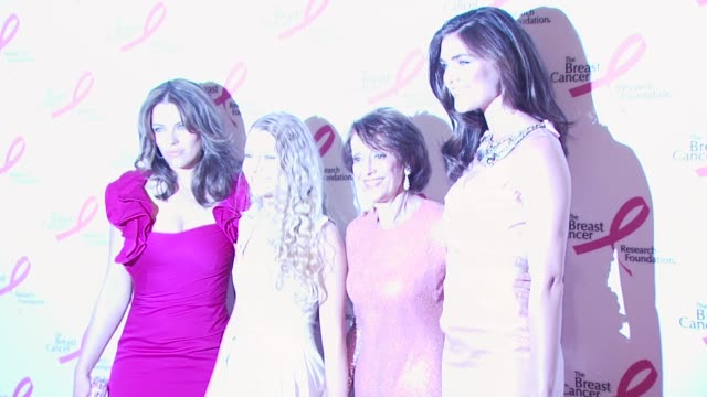 elizabeth hurley, evelyn lauder and model hilary rhoda at the 2010 breast cancer research foundation's hot pink party - arrivals at new york ny. - hot pink stock videos & royalty-free footage