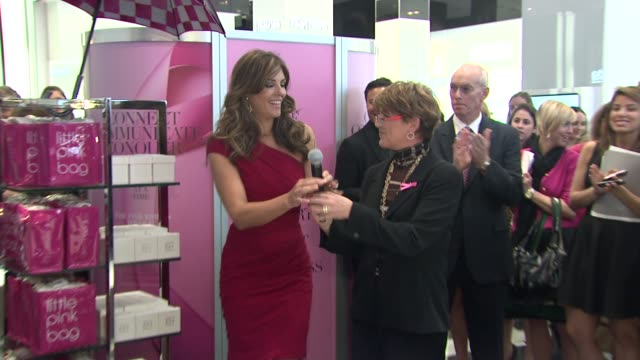 Elizabeth Hurley introduced to audience at the Bloomingdale's The Estee Lauder Companies Kick Off Breast Cancer Awareness Month at New York NY