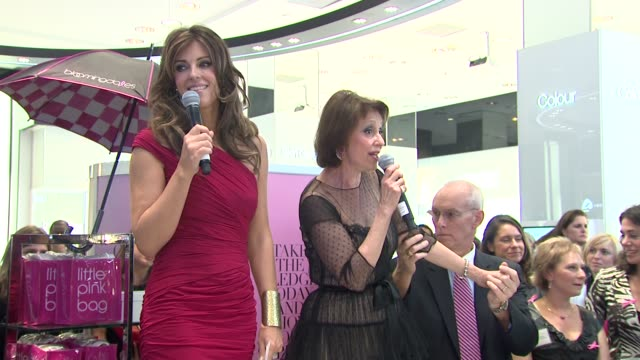 Elizabeth Hurley introduces Evelyn Lauder encourages everyone to make a pledge to tell their friends to do self examinations at the Bloomingdale's...