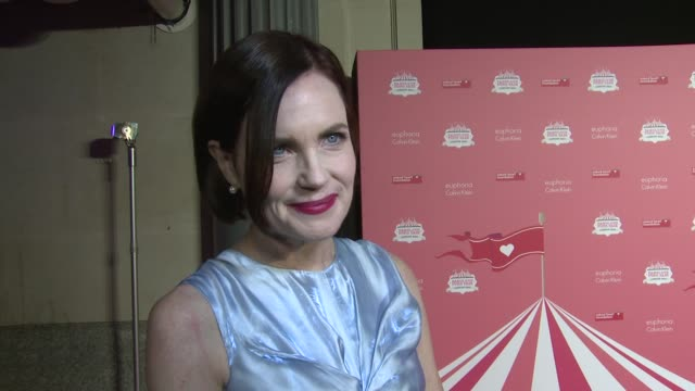 Elizabeth McGovern on current work Downton Abbey and Fashion Week at Old Billingsgate Market on February 20 2016 in London England