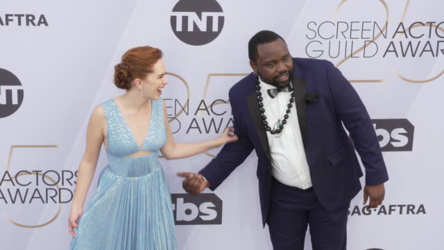 elizabeth mclaughlin brian tyree henry at 25th annual screen actors guild awards at the shrine auditorium on january 27 2019 in los angeles california - screen actors guild awards stock videos & royalty-free footage