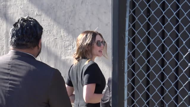 elizabeth olsen arrives at jimmy kimmel live at el capitan theater in hollywood in celebrity sightings in los angeles - jimmy kimmel stock videos and b-roll footage