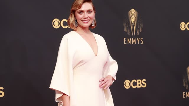 elizabeth olsen arrives to the 73rd annual primetime emmy awards at l.a. live on september 19, 2021 in los angeles, california. - emmy awards stock videos & royalty-free footage