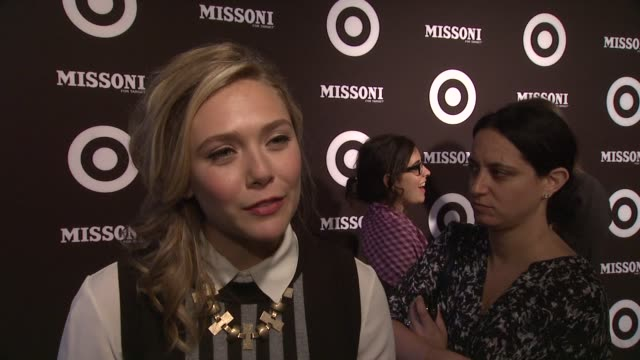 vídeos de stock, filmes e b-roll de elizabeth olsen says she's excited to see the collection as she's a big fan of both missoni and target at the missoni for target private launch event... - missoni