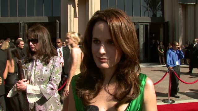 elizabeth reaser on her best guest actress nomination for 'grey's anatomy,' the importance of the crew on a series, and on wearing dolce and gabbana... - dolce & gabbana stock videos & royalty-free footage