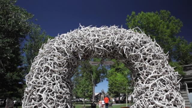 ws td elk antler arch at george washington memorial park / jackson, wyoming, usa - antler stock videos & royalty-free footage
