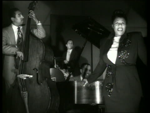 b/w ella fitzgerald singing with musicians - singing stock videos & royalty-free footage