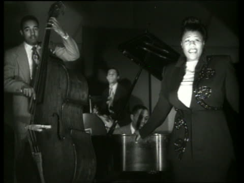 b/w ella fitzgerald singing with musicians - ella fitzgerald stock videos & royalty-free footage