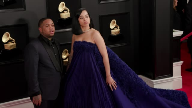 Ella Mai and DJ Mustard at the 61st Grammy Awards Arrivals at Staples Center on February 10 2019 in Los Angeles California EDITORIAL