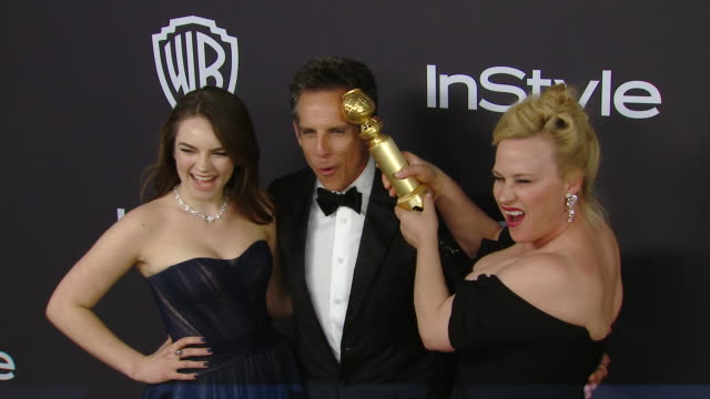 ella stiller, ben stiller and patricia arquette at the warner bros. and instyle host 20th annual post-golden globes party at the beverly hilton hotel... - the beverly hilton hotel stock videos & royalty-free footage