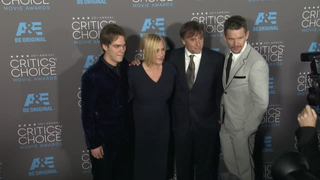 ellar coltrane, patricia arquette, richard linklater, and ethan hawke at the 20th annual critics' choice awards at hollywood palladium on january 15,... - patricia arquette stock videos & royalty-free footage