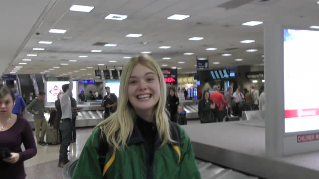 Elle Fanning at Salt Lake City International Airport in Celebrity Sightings in Park City UT