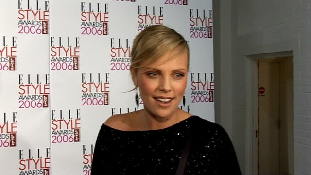 Interviews Charlize Theron interview SOT On winning 'Woman of the Year' award / On honour and feeling that they made a mistake Theron speaking to...