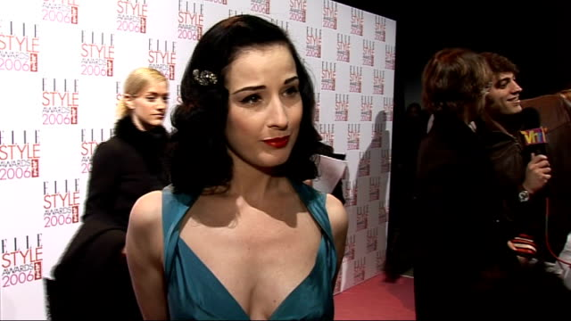 elle style awards 2006: interviews; dita von teese interview sot - on her style / on promoting her new book on burlesque / on how married life is... - バーレスク点の映像素材/bロール
