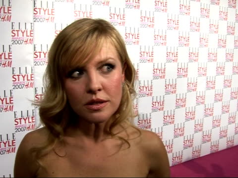 Arrivals / interviews Ashley Jensen talking to press Ashley Jensen interview SOT Gwen Stefani fashion icon/ great fun filming Ugly Betty series/...