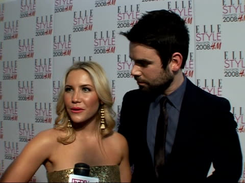 Arrivals / interviews Heidi Range and TV Presenter boyfriend Dave Berry posing for photocall and interview SOT