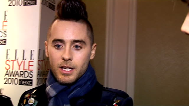 elle style awards 2010; '30 seconds to mars' interview sot - on their wembley show - on the last year - a dream playing in wembley, humbled - on... - 30 seconds or greater stock-videos und b-roll-filmmaterial