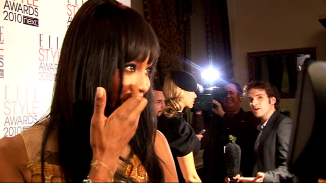 elle style awards 2010; jared leto mingling naomi campbell interview sot - wearing alexander mcqueen - style tips, less is best, not too many... - fashion industry stock videos & royalty-free footage