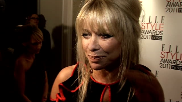 red carpet interviews Jo Wood talking to press Jo Wood interview SOT On her outfit and getting ready / Answers style questions / On Dancing On Ice...