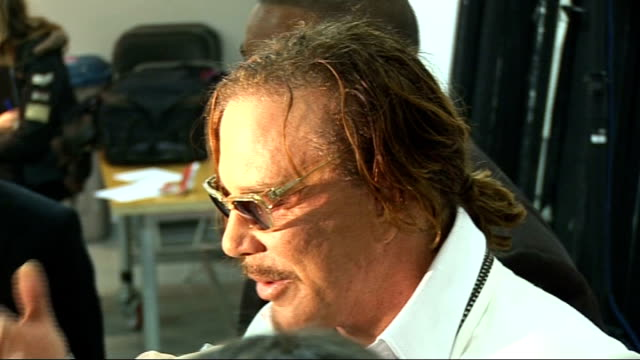 arrivals and interviews actor mickey rourke speaking to press and away - mickey rourke actor stock videos & royalty-free footage