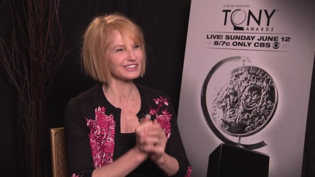 ellen barkin says it's every trained actor's pinnacle to be nominated for a tony award, says her favorite tony moment was natasha richardson winning... - interview event stock videos & royalty-free footage