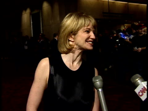 vídeos de stock, filmes e b-roll de ellen barkin talks to reporters about jack nicholson on red carpet - american film institute