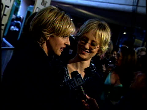 ellen degeneres and anne heche speak to a reporter on the red carpet. - anne heche stock videos & royalty-free footage