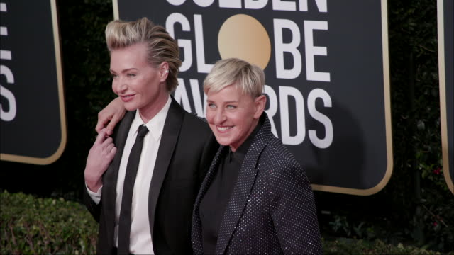 ellen degeneres and portia de rossi at the 77th annual golden globe awards at the beverly hilton hotel on january 05 2020 in beverly hills california - the beverly hilton hotel stock-videos und b-roll-filmmaterial