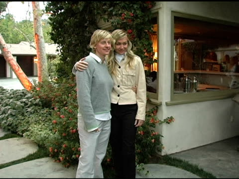 ellen degeneres and portia de rossi at the in the face of jinn release party at private residence in pacific palisades california on april 18 2005 - ellen degeneres stock videos & royalty-free footage