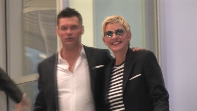 ellen degeneres and ryan seacrest leaving cnn in hollywood at the celebrity sightings in los angeles at los angeles ca - ryan seacrest stock-videos und b-roll-filmmaterial